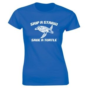 Half It Tops - Skip A Straw Save A Turtle Pollution T-shirt Tee